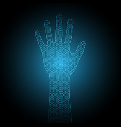 technology cyber security hand binary vector image vector image