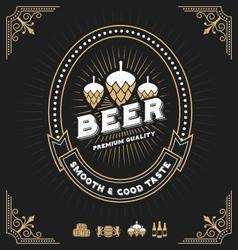 Vintage beer and beverage frame design vector image vector image
