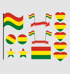 bolivia flag set collection of symbols flag vector image