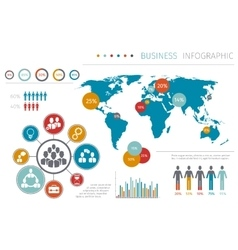 Business people world map infographic vector image