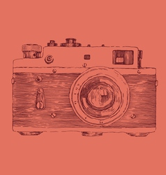 hipster photo camera engraved retro style vector image