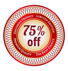 Label on 75 percent discount vector image vector image