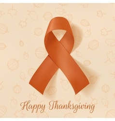 Realistic Thanksgiving greeting Card with Ribbon vector image