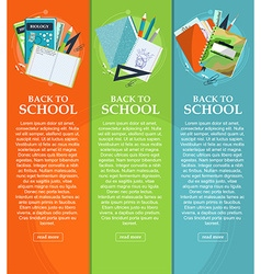 Set of banners back to school with stationery vector image