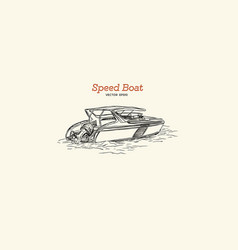 speed boat hand draw vector image