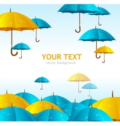 colorful yellow and blue umbrellas flying vector image vector image