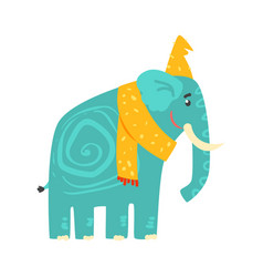 cute turquoise cartoon elephant in a yellow hat vector image