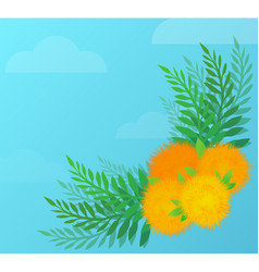 flower angular pattern with yellow dandelions and vector image