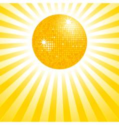 gold disco ball background vector image vector image