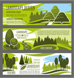 landscaping and gardening service banners design vector image vector image