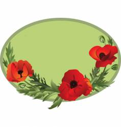 poppy oval vector image vector image