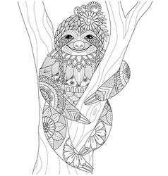 sloth coloring vector image vector image