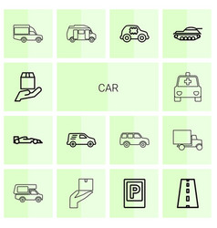 14 car icons vector