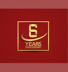 6 years anniversary with square and swoosh golden vector