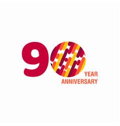 90 year anniversary purple template design vector