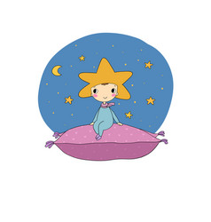 A boy star sits on a pillow vector
