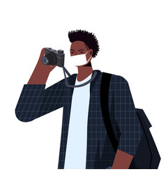 African american photographer wearing mask vector