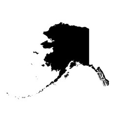 alaska state of usa - solid black silhouette map vector image