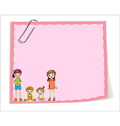 An empty paper templates with children vector image