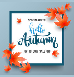 autumn sale banner with maples vector image