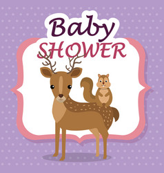 baby shower card with cute reindeer and chipmunk vector image
