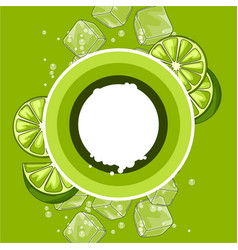 Background with limes ice cubes and soda bubbles vector