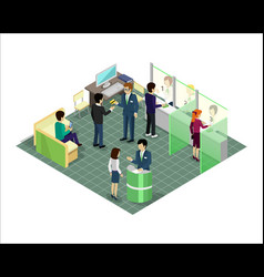 banking services in isometric projection vector image