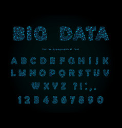 Big data modern font on black background vector
