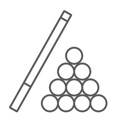 billiard thin line icon game and sport pool sign vector image