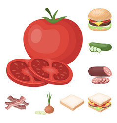 Burger and ingredients cartoon icons in set vector
