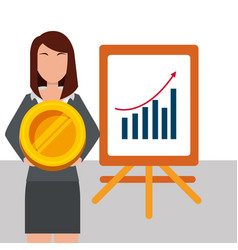 Business woman holding coin money and presentation vector