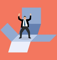 Businessman get out of the box vector