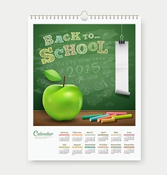 Calendar 2015 back to school concept design vector image
