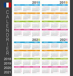 Calendar 2018 2019 2020 2021 vector