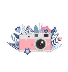 Cartoon retro camera icon for instagram stories t vector
