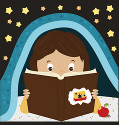 child reading book kid reading at night under the vector image