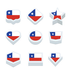 chile flags icons and button set nine styles vector image