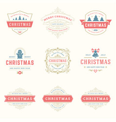 christmas quotes labels and badges design vector image