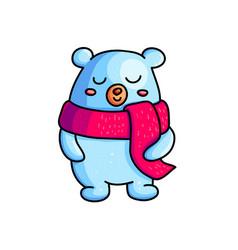 christmas teddy bear color hand drawn character vector image