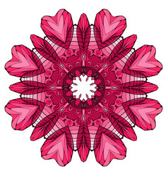 circular abstract pink coloring book mandala vector image