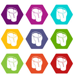 classic shorts icons set 9 vector image