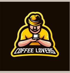Coffee lovers e-sport mascot logo design vector
