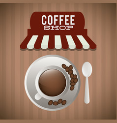 Coffee shop cup plate spoon bean vector