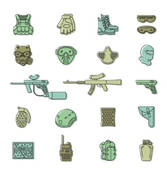 Colored paintball or airsoft icon set vector