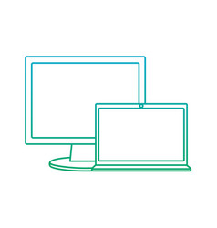 computer monitor with laptop icon image vector image