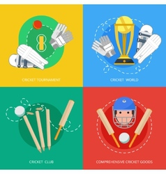 Cricket 4 flat icons composition vector