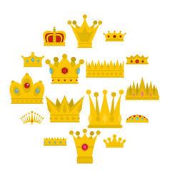 crown icons set in flat style vector image