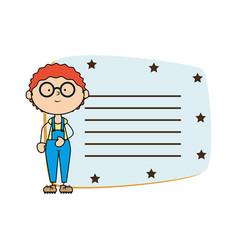 cute boy card avatar character vector image