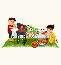 Cute brunette young man cooking on bbq vector