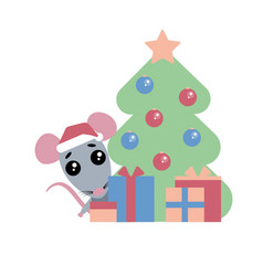 Cute rat funny character with presents happy new vector